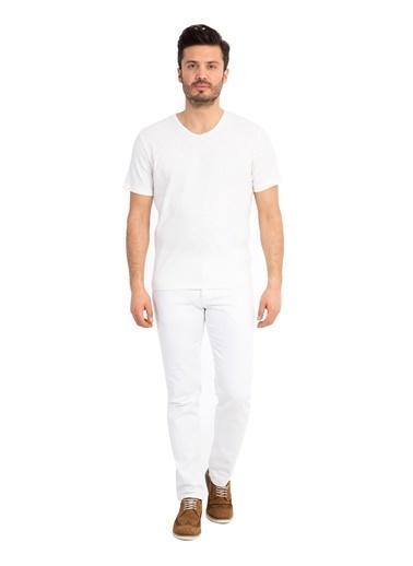 Kiğılı V Yaka Tişört Krem